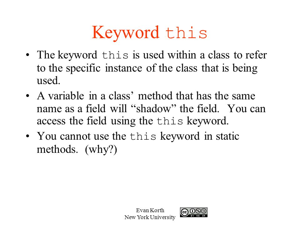 Keyword this The keyword this is used within a class to refer to the specific instance of the class that is being used.