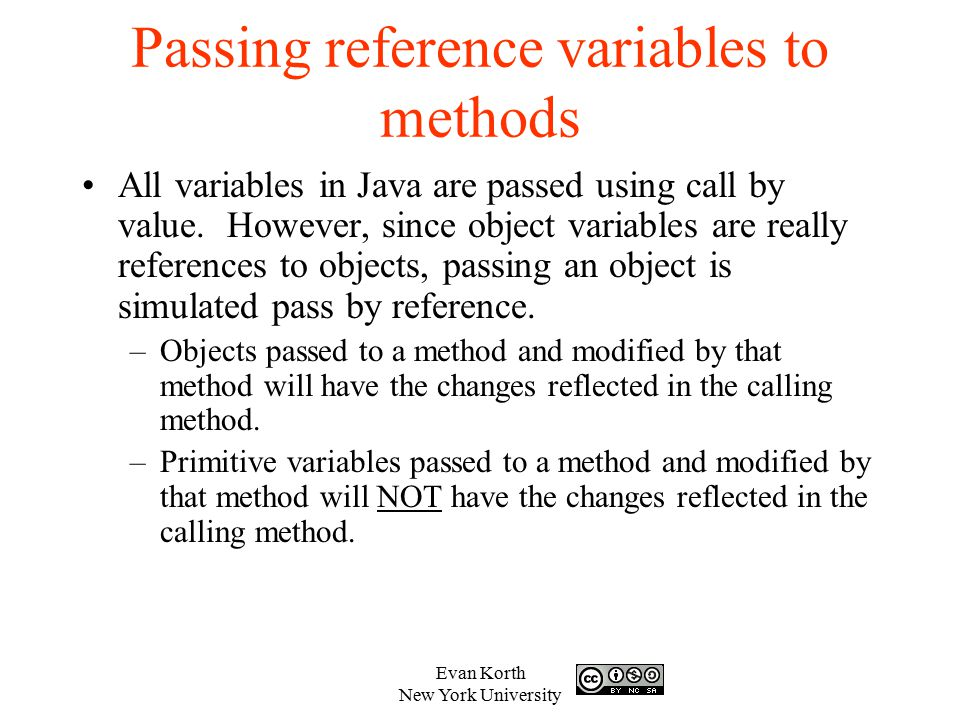 Passing reference variables to methods