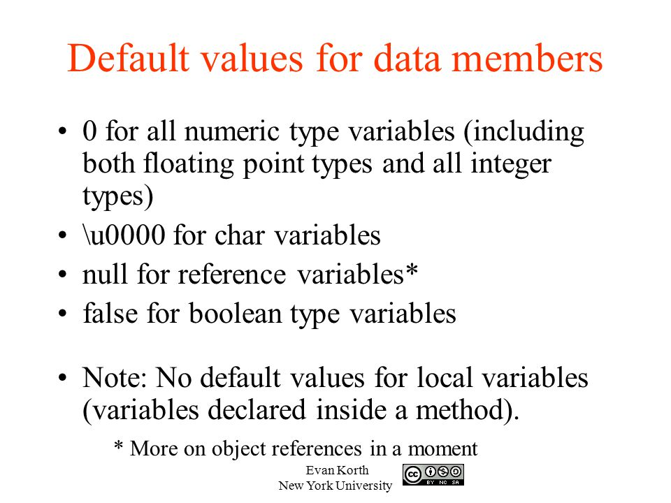 Default values for data members