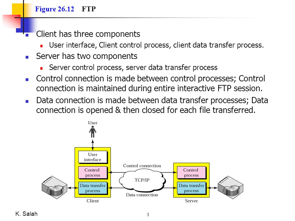 Client has three components Server has two components
