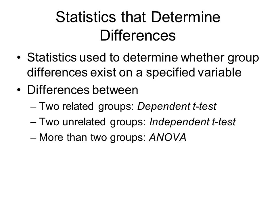 Statistics that Determine Differences