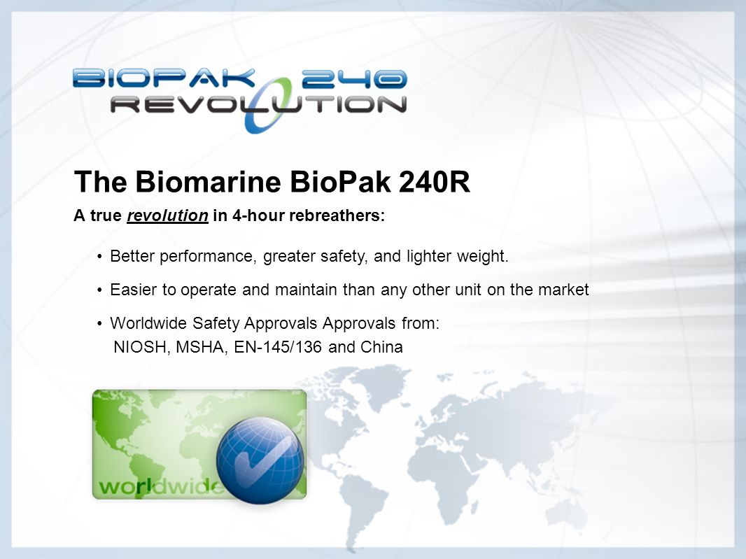 The Biomarine BioPak 240R A true revolution in 4-hour rebreathers: