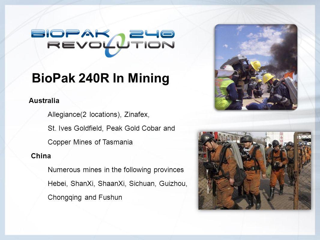 BioPak 240R In Mining Australia Allegiance(2 locations), Zinafex,