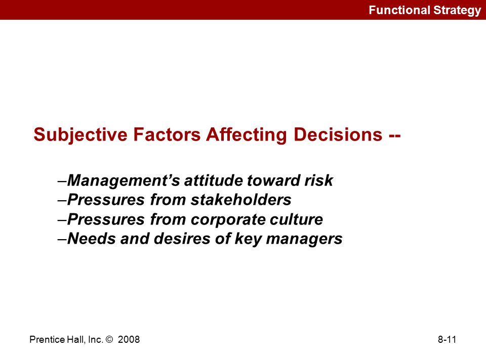 Subjective Factors Affecting Decisions --