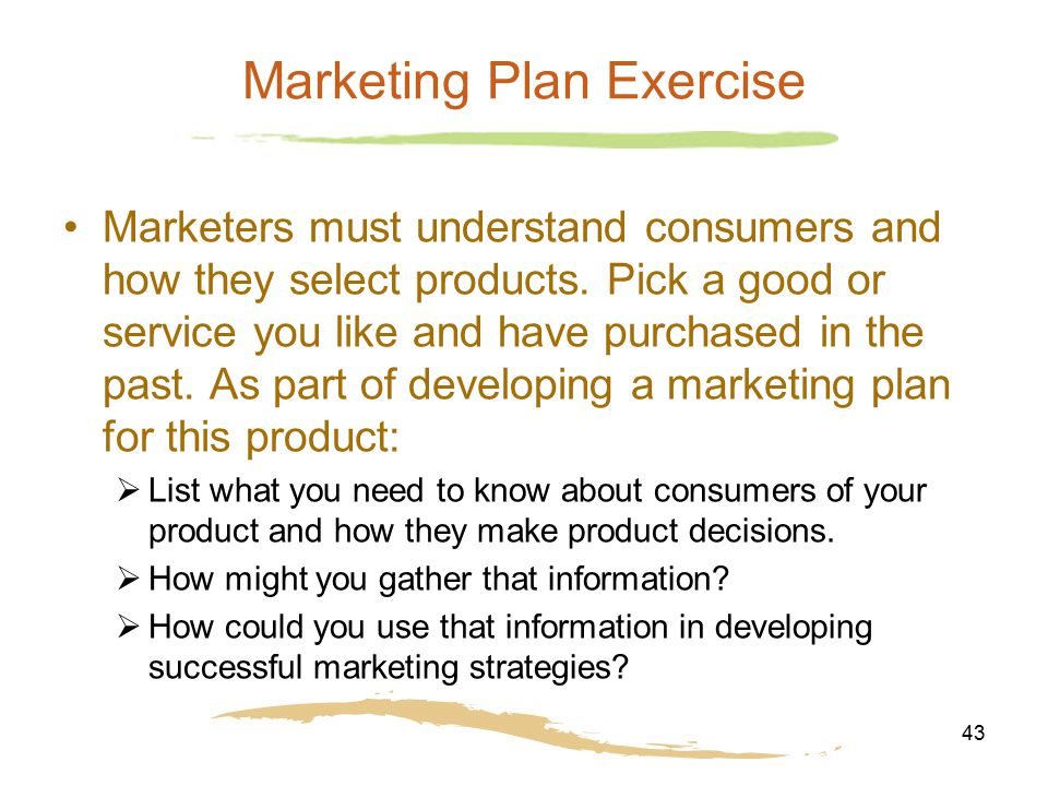 mkt 230 marketing plan exercise Completion of free electives, including health & exercise science, to total a  minimum of 120 semester hours at least 14  programs fin 230, business  statistics  mkt 490 marketing management: analysis, planning and  implementation.