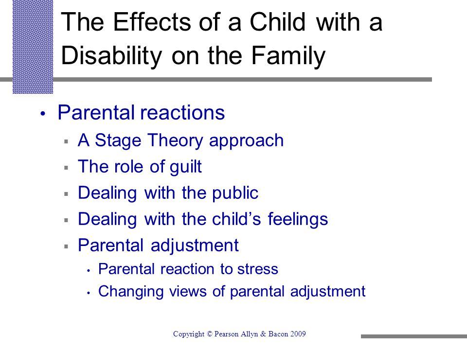 The Effects of a Child with a Disability on the Family