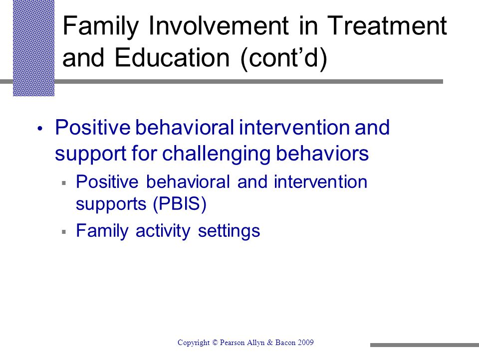 Family Involvement in Treatment and Education (cont'd)