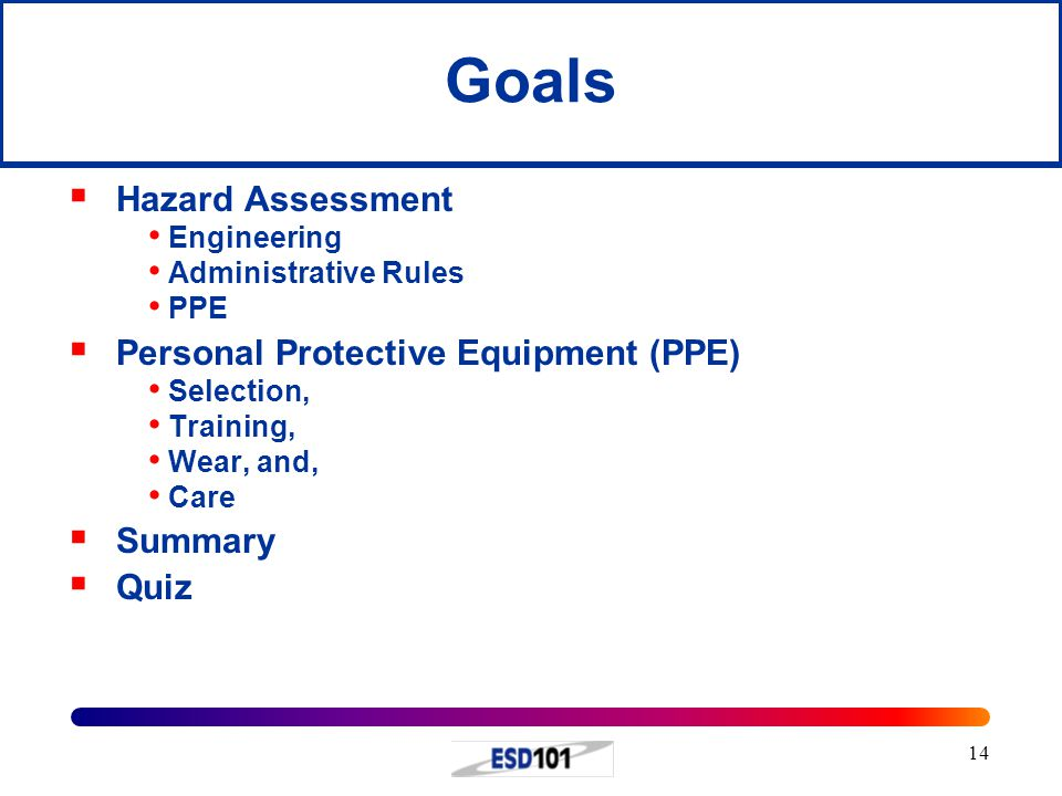 Goals Hazard Assessment Personal Protective Equipment (PPE) Summary