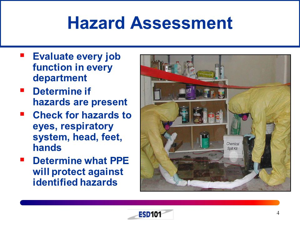 Hazard Assessment Evaluate every job function in every department