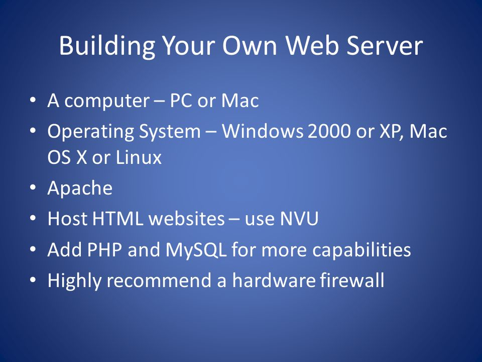 Building Your Own Web Server
