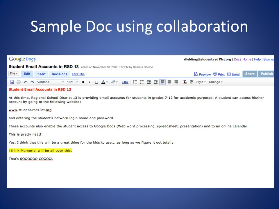 Sample Doc using collaboration