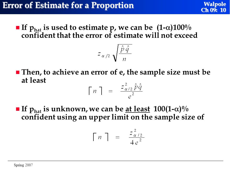 Error of Estimate for a Proportion