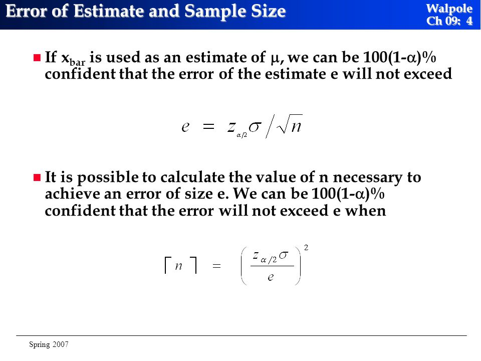 Error of Estimate and Sample Size