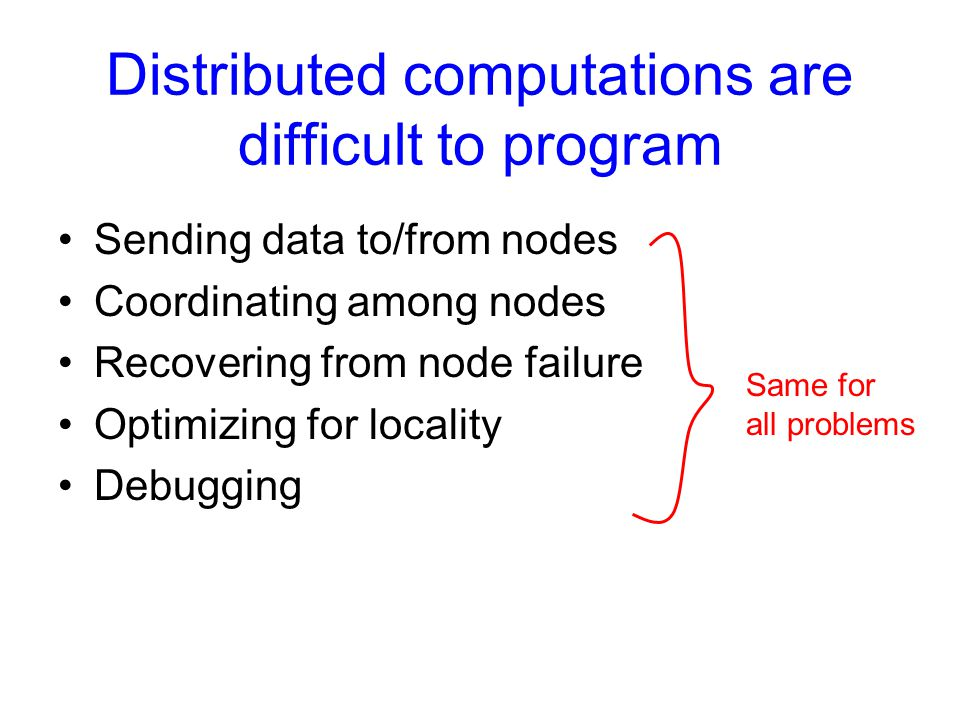 Distributed computations are difficult to program