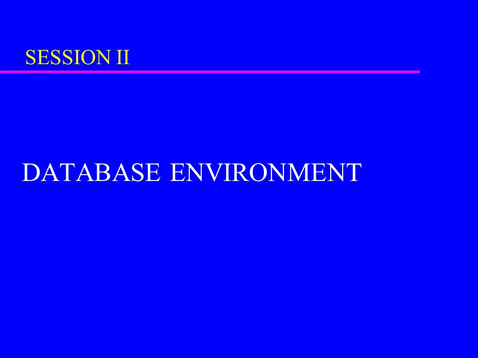SESSION II DATABASE ENVIRONMENT