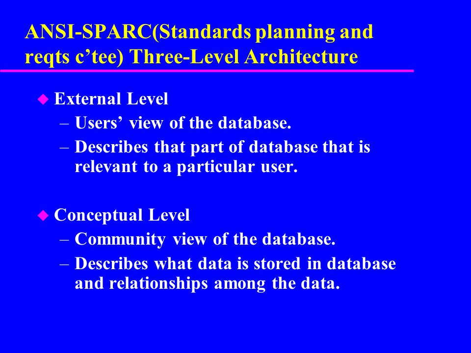ANSI-SPARC(Standards planning and reqts c'tee) Three-Level Architecture