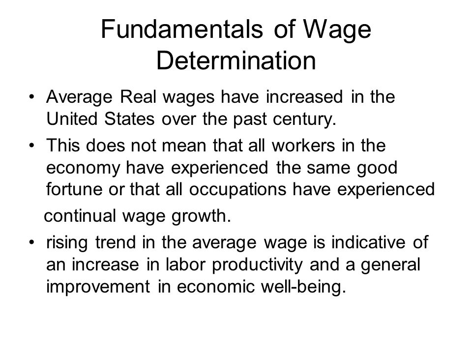 Fundamentals of Wage Determination