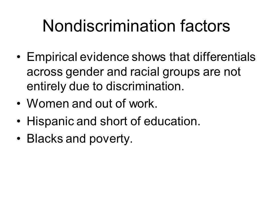 Nondiscrimination factors