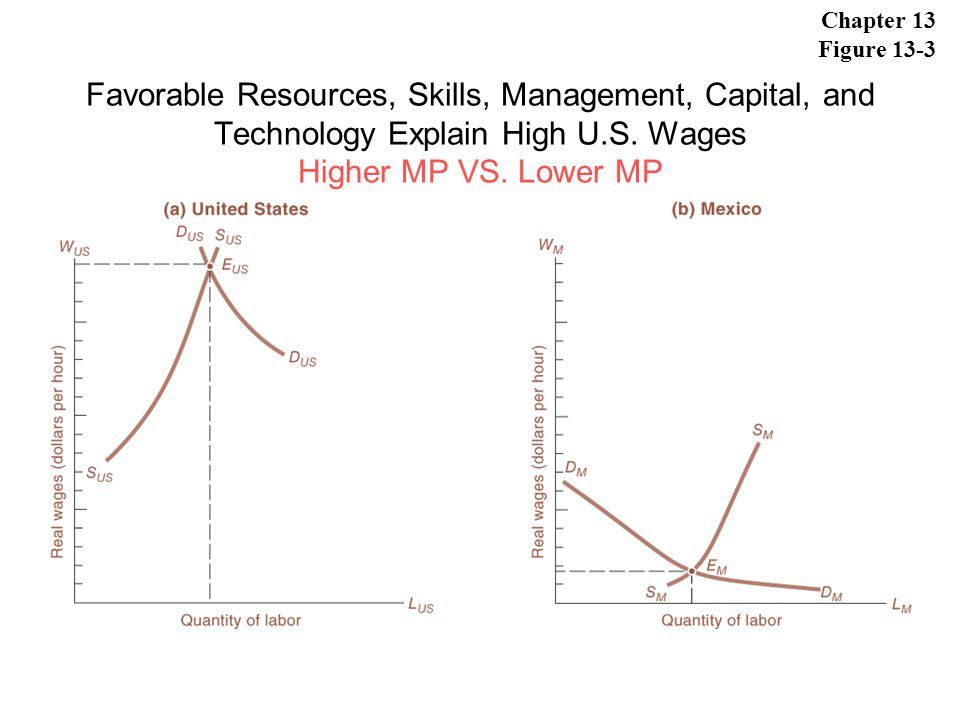 Chapter 13 Figure 13-3 Favorable Resources, Skills, Management, Capital, and Technology Explain High U.S.