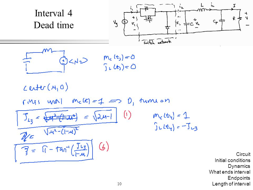 Interval 4 Dead time Circuit Initial conditions Dynamics