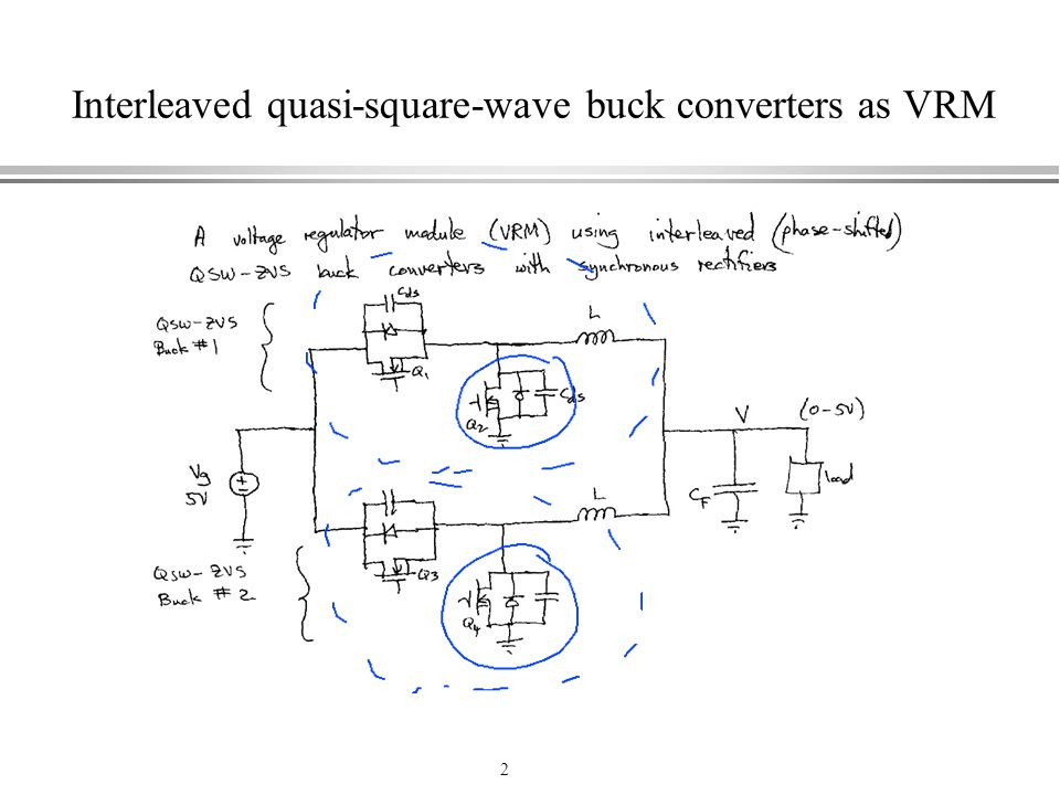 Interleaved quasi-square-wave buck converters as VRM