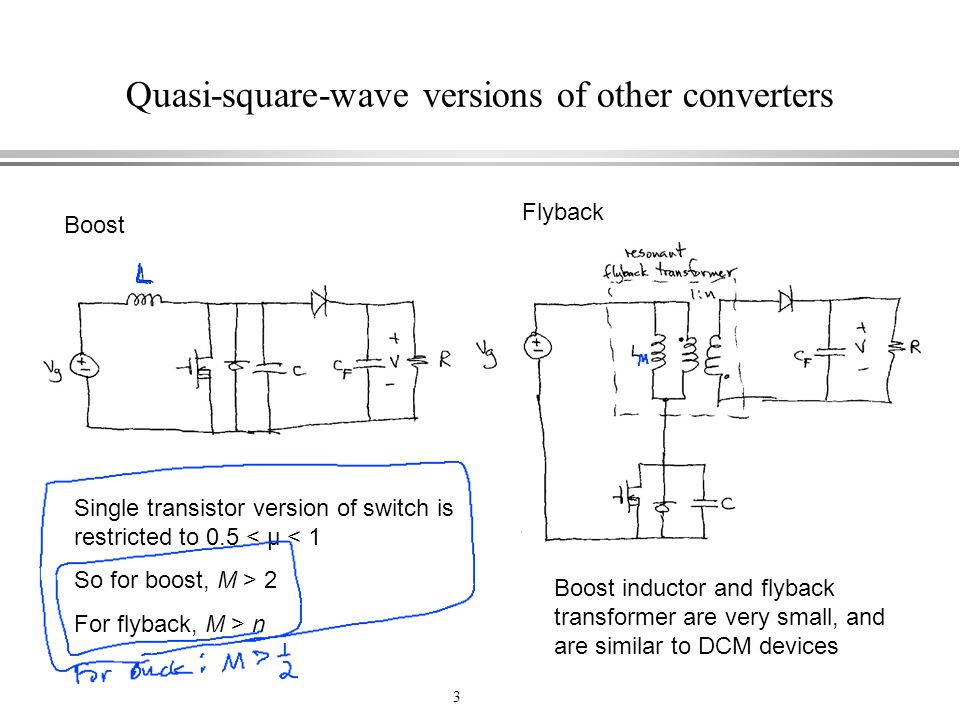 Quasi-square-wave versions of other converters