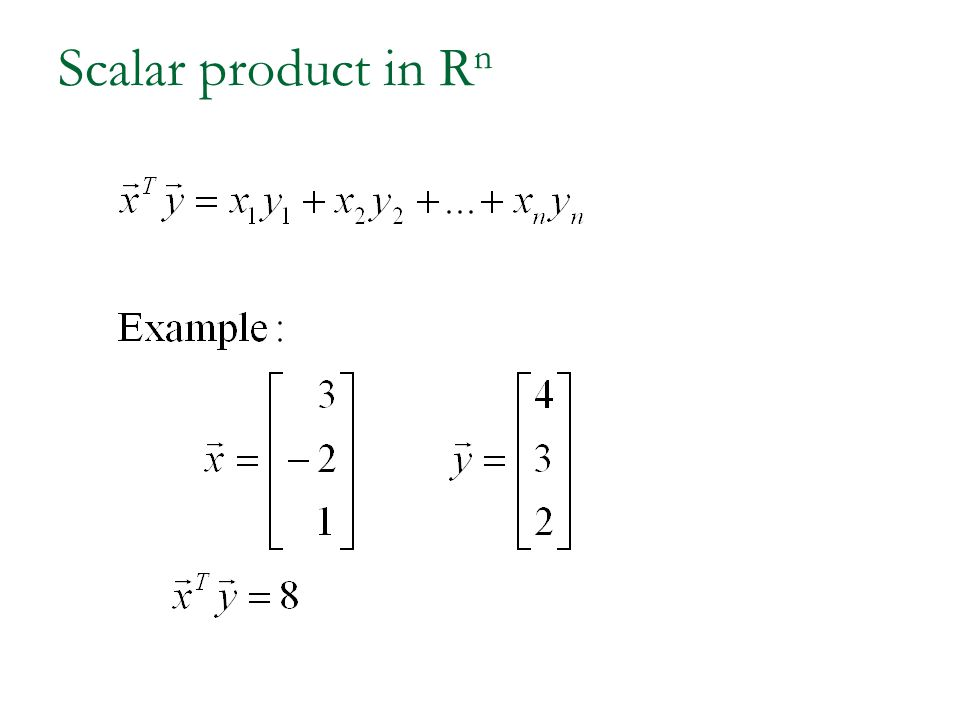 Scalar product in Rn