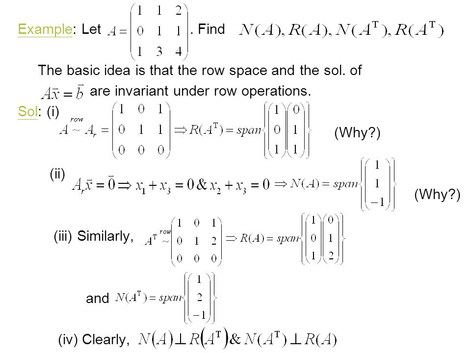 Example: Let . Find The basic idea is that the row space and the sol. of. are invariant under row operations.