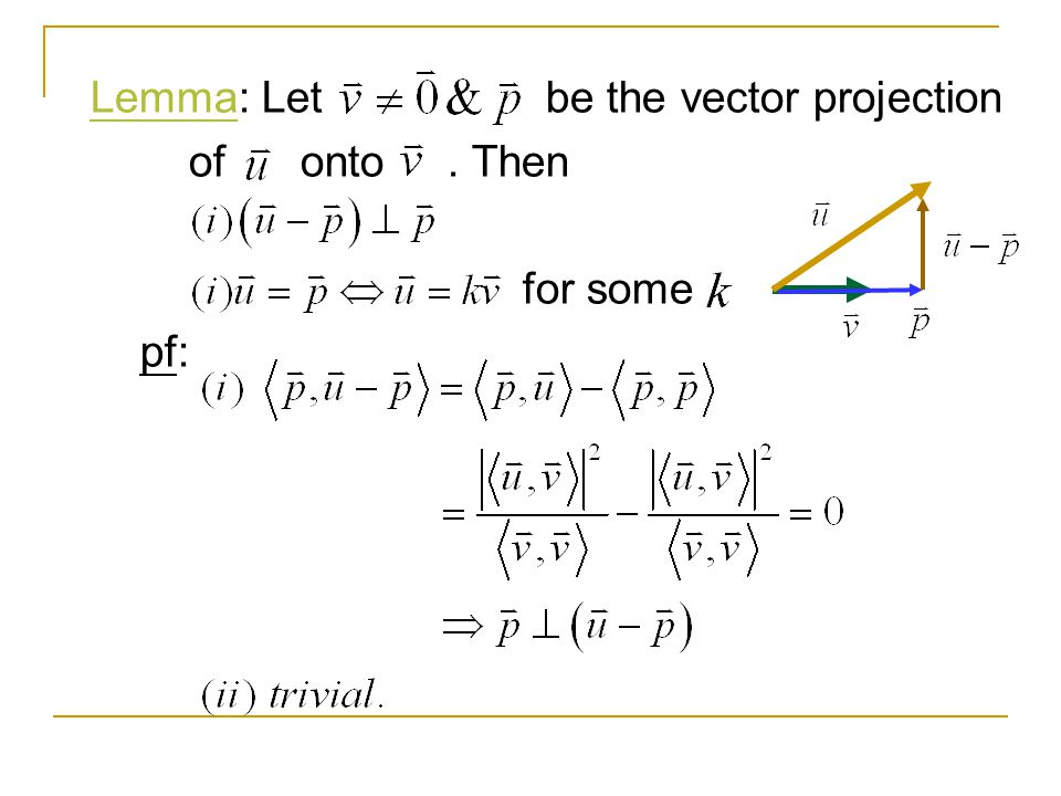 Lemma: Let be the vector projection