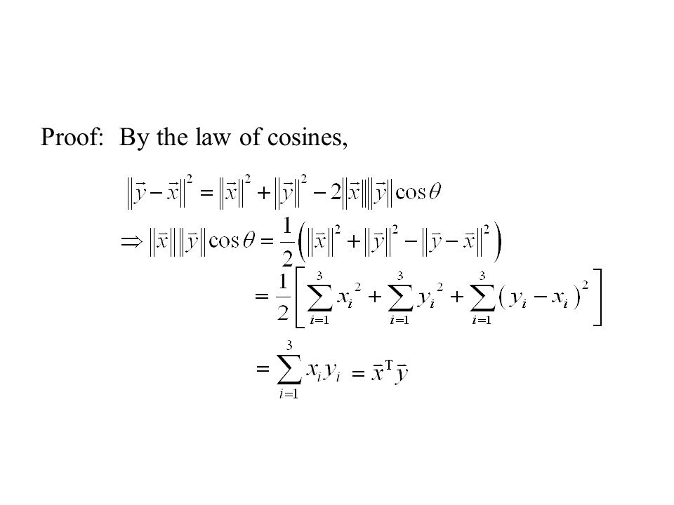 Proof: By the law of cosines,