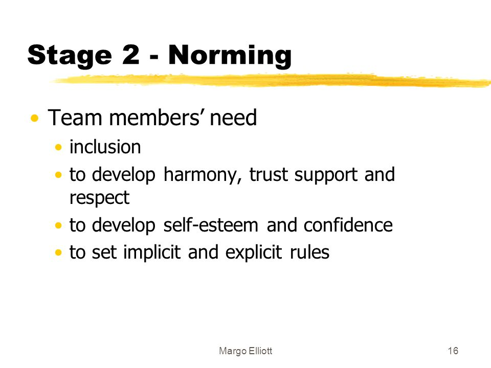Stage 2 - Norming Team members' need inclusion