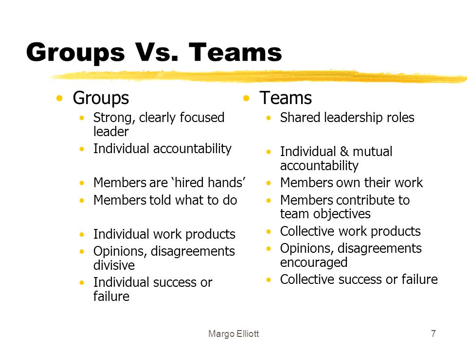 Groups Vs. Teams Groups Teams Strong, clearly focused leader