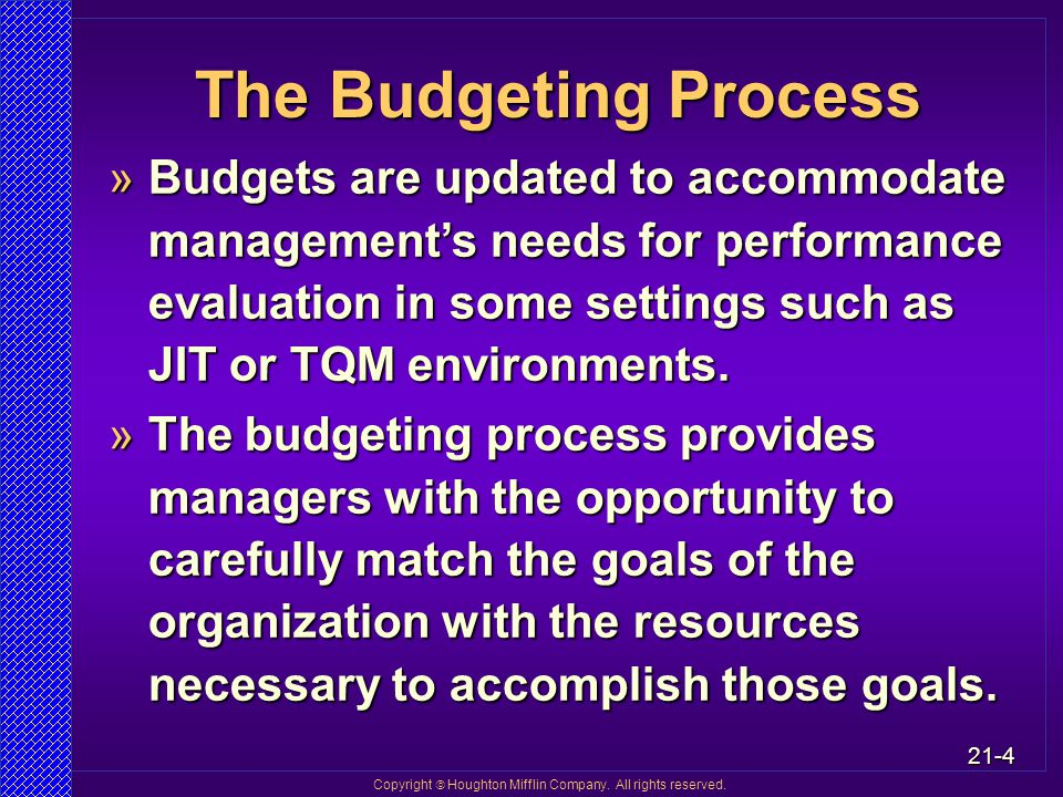 the role of budgeting in management Budgeting and financial control of your projects must be actively managed it is an important part of the project management process and should be reviewed by the project manager, financial team, stakeholders and key project team members regularly.