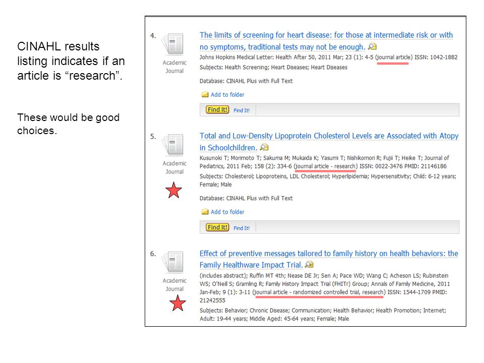 CINAHL results listing indicates if an article is research .