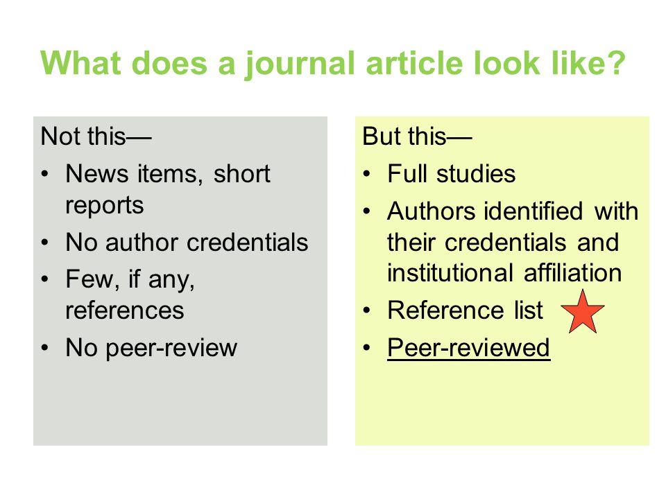 What does a journal article look like
