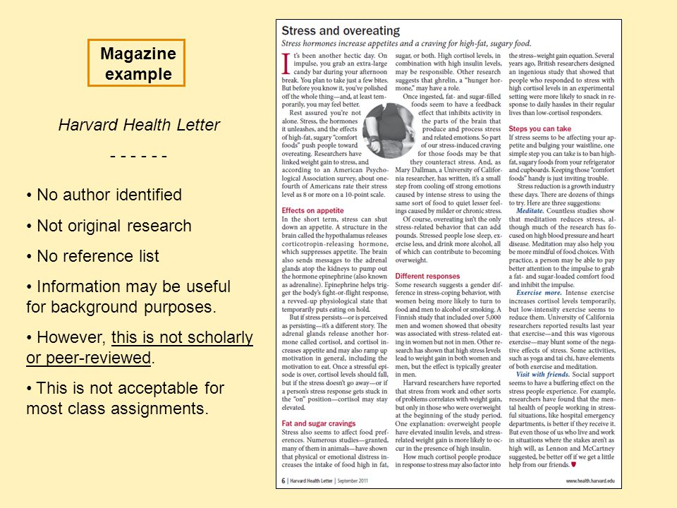 Magazine example Harvard Health Letter No author identified. Not original research.