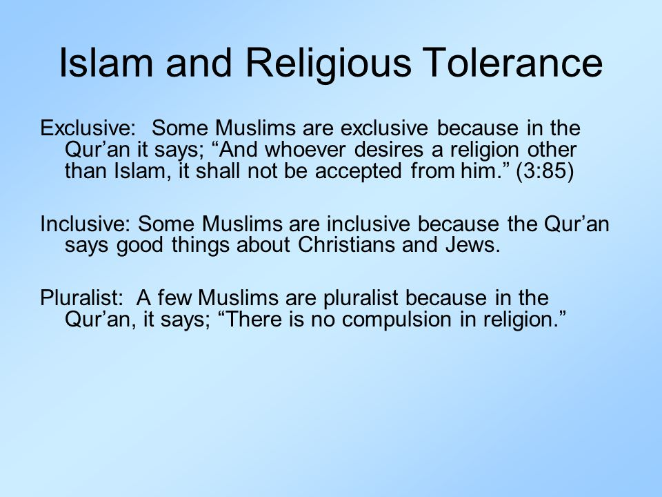 Islam and Religious Tolerance