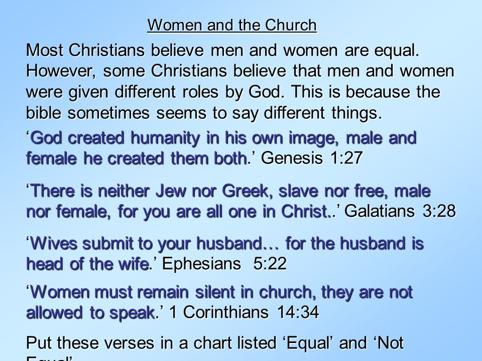 Put these verses in a chart listed 'Equal' and 'Not Equal'.