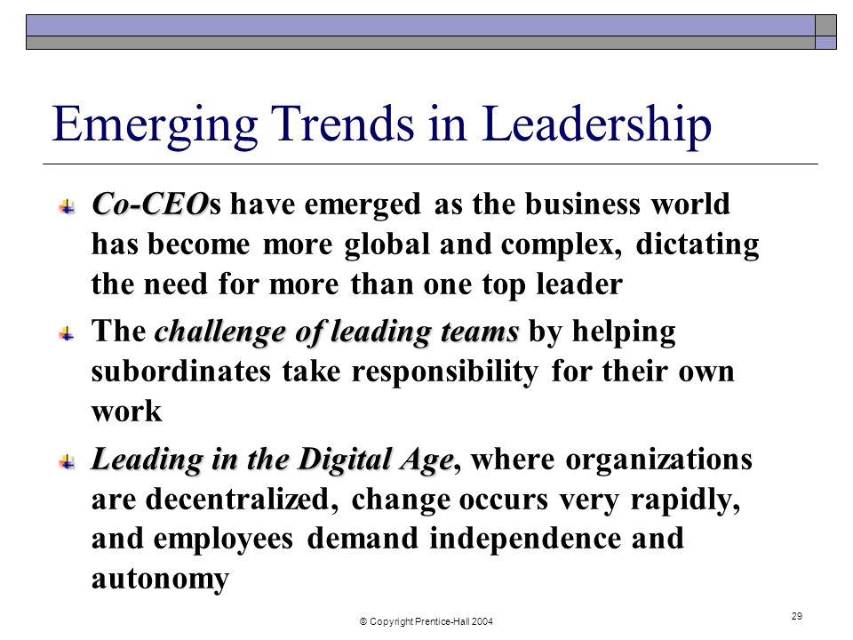 emerging leadership theories Douglas mcgregor's theory y and theory x can also be compared with these  two leadership stylestheory x.