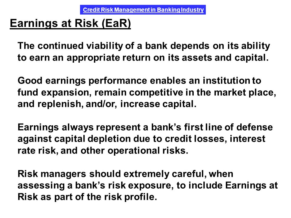 the importance of credit risk management in banking A risk management framework for microfinance institutions  cifically financial risks such as liquidity risk, credit  risk management and describes the risk.