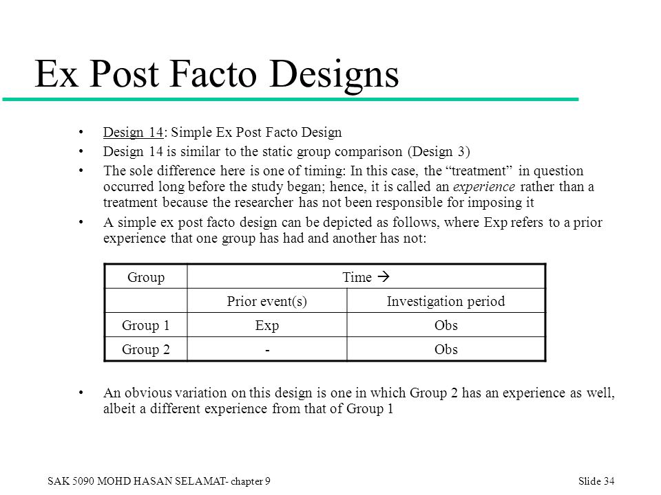 expost facto research design Ex posto facto research method ex post facto means 'from what is done afterwards when to use this • you can use this where more powerful experimental designs are not possible when you are unable to select.