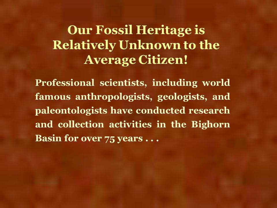 Our Fossil Heritage is Relatively Unknown to the Average Citizen!