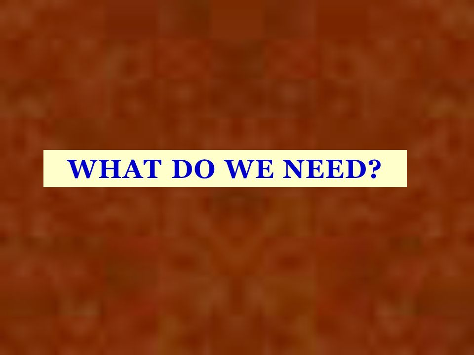 WHAT DO WE NEED