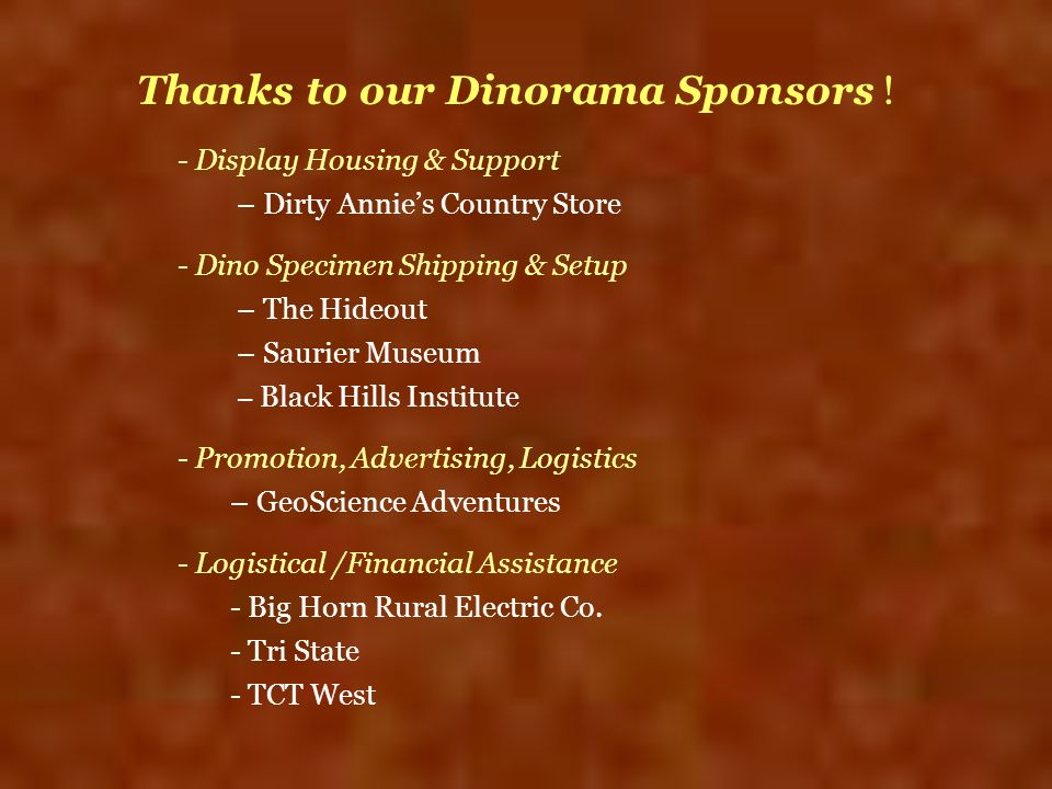 Thanks to our Dinorama Sponsors !