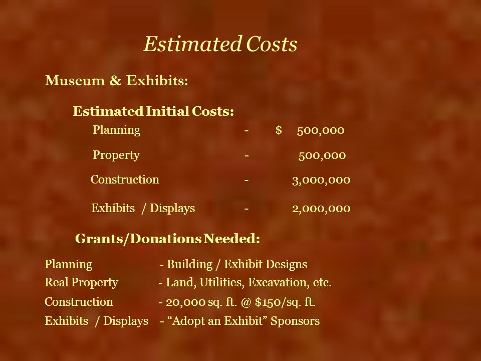Estimated Costs Estimated Initial Costs: Museum & Exhibits: