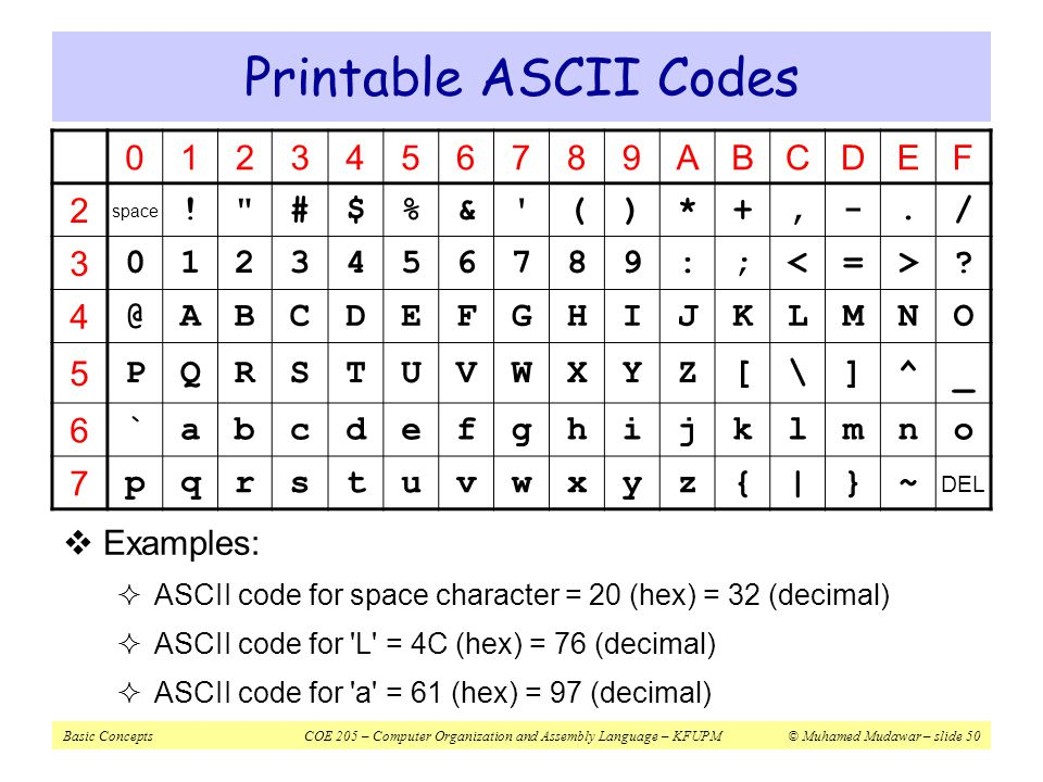 Basic concepts coe 205 computer organization and assembly for Ascii table c