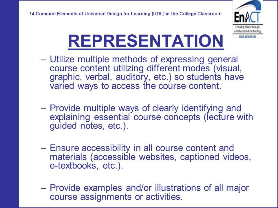 Universal Design Classroom Examples ~ Universal design for learning ppt video online download