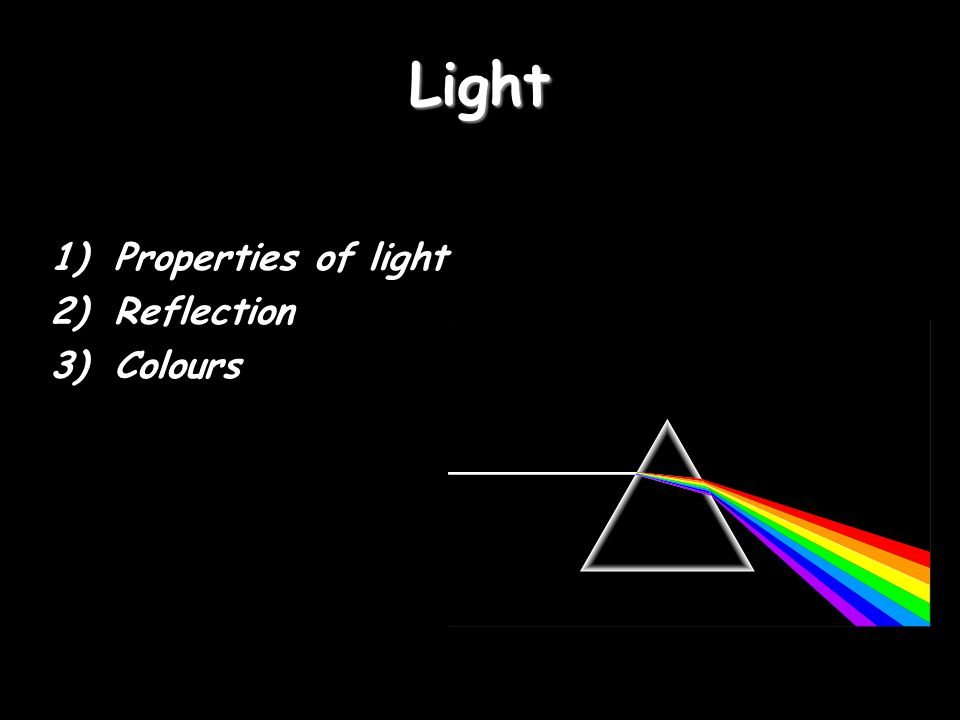 Light Properties of light Reflection Colours