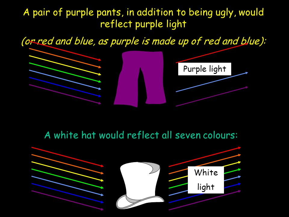 (or red and blue, as purple is made up of red and blue):