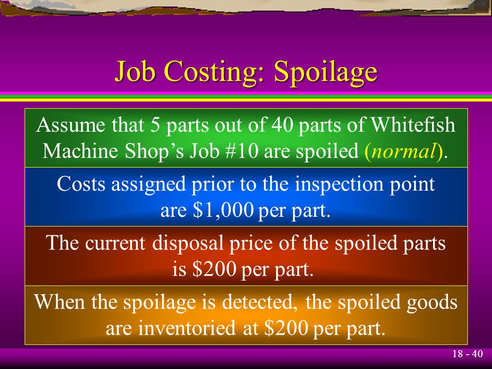 Spoilage and Rework in Job Order Costing System